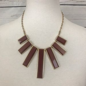 Burgundy and Gold Statement Necklace